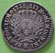FRANCE LOUIS XV 1/20 ECU AU BRANCHES D'OLIVIER 1728 K