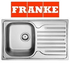 FRANKE POLAR SINGLE 1.0 BOWL DRAINER & WASTE STAINLESS STEEL LINEN KITCHEN SINK