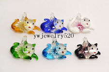 Wholesale LOts 6Pcs Animal Cat Flower Murano Glass Pendants Fit Necklace FREE