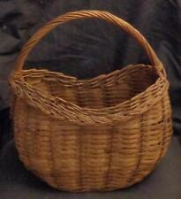 Wonderful Vintage Woven Bamboo Basket - GOOD HANDY SIZE - WITH HANDLE - VGC