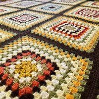 Vintage Large Granny Square Blanket Afghan Knit Retro Multi-Color Green 75 x 60