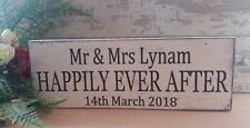 Personalised happily ever after sign shabby & chic vintage wooden sign weddings