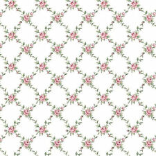 "Dollhouse Miniature Computer Printed Fabric 1:48 Quarter 1/4"" Pink Roses"