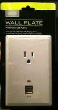 Living Solutions Charging Station With 2 USB Ports & 1 AC Outlet Wall Plate New