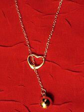 Valentine Heart Ball & Chain Lariat Necklace silver 925
