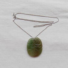 Beautiful Silver Necklace with Jade Buddha Pendant