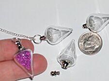 1 Glass Crystal Tear Bottle Locket vial Screw cap Reiki Healing Dowsing pendulum