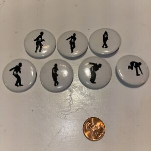 "Vintage Madness Letters 7 Pins Badge Button Pinback Ska Dancing Skanking 1 1/2"""