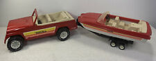VINTAGE 1970 TONKA PRESSED STEEL JEEP JEEPSTER W/ SPEED BOAT AND TRAILER