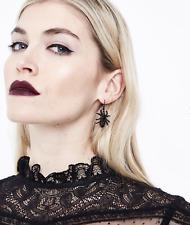 Black Gem Embellished Spider Earrings