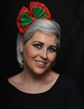Women's Christmas Cute Sequin Bow Headband Hat Festive Cap Xmas Fancy Dress