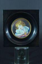 Tableau ancien Miniature L'Enfant et la Pomme d'après Greuze signé encadré