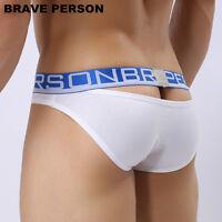 new BRAVE PERSON Underwear Men Sexy Briefs Cotton Hollow Design Gay M L XL