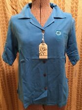 2004 Athens Olympics Men's Polo Shirt L Xerox Sponsor Blue Silk Collared NWT