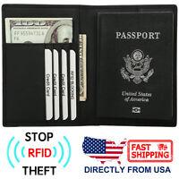 Men's Passport Holder RFID Blocking Genuine Top Grain Leather Travel Wallet