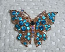 Blue & AB Rhinestone 2 Tier Butterfly Pin Brooch Gold Tone Vintage?
