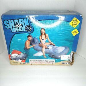 Hammerhead Shark Pool Lounge 7' Water Float Shark Week Cup Holder BOX DAMAGE