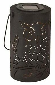Fountasia Black Cylinder Solar Owl Lantern Metal Garden Ornament