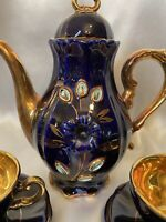 🟢 RARE MidCent German Deep Cobalt Blue & 22k Gold Porcelain Tea Set