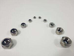 Hex Nylon Insert Nut Stainless Steel Sizes M2.5 M3 M4 M5 M6 M8 M10 M12 M16 M20