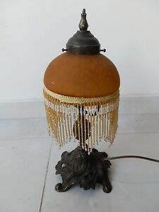 Table Lamp Brass With Glass A Beads Orange