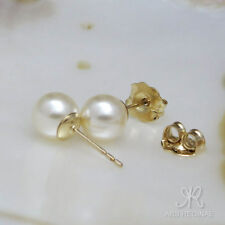 FEMININER KLASSIKER ● 6mm ●  SC Perlen Ohrstecker warmes weiß ygf 14k Gold 585
