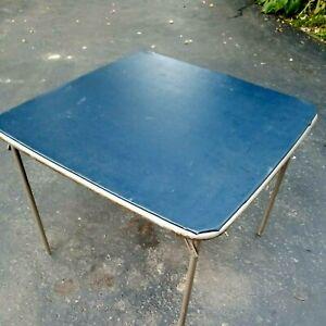 "Vintage Samsonite Tempo Folding Card or Game Table ~ Blue Portable 35"" Square B"