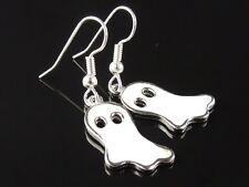 Friendly Ghost Earrings - Halloween - white enamel charms, silver ear wires