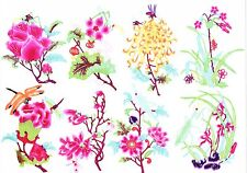 Chinese Paper Cuts Insects Over Flower Set B 8 colorful small pieces Zhou