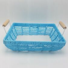 Metal Bread Roll Serving Basket White Blue with Handles