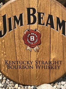 Home Bar Decor Jim Beam Bourbon Gold Ribbon Barrel Lid Head Wood wall Kentucky