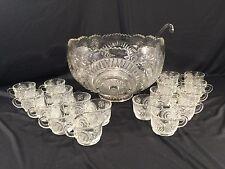 Vintage L.E. Smith Pinwheel & Star Slewed Horseshoe 20 Piece Punchbowl Set W/Box