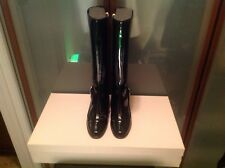 JIMMY CHOO WOMANS $945.00 NWBOX BLACK PATENT LEATHET BOOTS SIZE 37 1/2