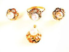 Jewelry Set ( Ring, Pendant, Earrings) Gold 585 With Pearls And Diamonds