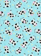 Cow fabric, silly cow fabric, blue cow fabric 100% Cotton Fabric cotton