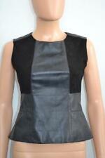 Belstaff Black Leather/Suede Peplum Sleeveless Top Size 38