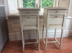 pair distressed shabby chic bedside tables pot cupboard marble top cream paint