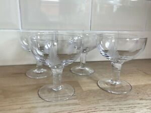 Stunning Set of 4 Stuart Crystal Woodchester Champagne Coupe / Saucers 10.5cm