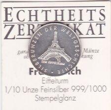 Eiffelturm Frankreich Silberunzen der Weltgeschichte 1/10 Unze Silber