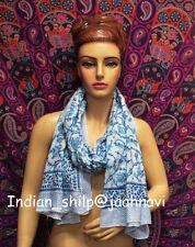 Indian Fashion Women Long Block Print Cotton Scarf Wrap Sarong Shawl Large Art40