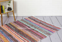 Handmade Cotton Colourful Braided Chindi Indian Striped Floor Rugs Home Carpets