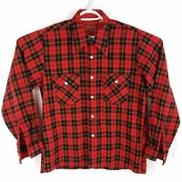 Vtg 70s Wool Blend Red Buffalo Plaid Big Collar Flannel Shirt Mens Medium