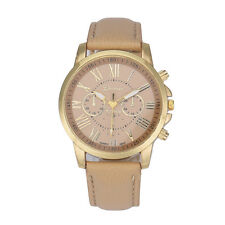 Mode Damen Leder Band Armbanduhr Edelstahl Quarz Analog Wristwatch Uhr