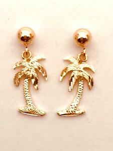 "14K Solid Rose Gold Hawaiian Palm Tree Earring Length: 11/16""(17 mm) E1118-60"