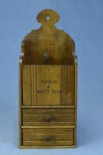 Antique WOODEN PRIMITIVE SPICE & SALT BOX 2 DRAWER + BIN RARE & UNUSUAL KITCHEN