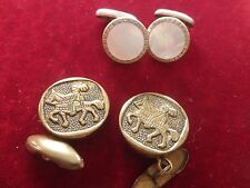 Vtg. lot of 2 sets cufflings mother of pearl/silver tone and brass looking rider