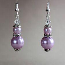 Lavender purple pearl crystal vintage silver wedding bridesmaid bridal earrings
