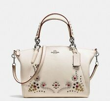 Coach * Small Kelsey Crossbody Satchel Bag in Stud Border Embellishment Chalk