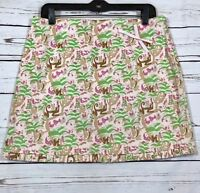 Tibi Women's Pencil Mini Skirt Cotton Pink Multicolor Size 10