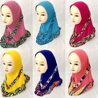 Muslim Kids Girls Full Cover Scarf Islamic Hijab Arab Headscarf Shawls Headwrap